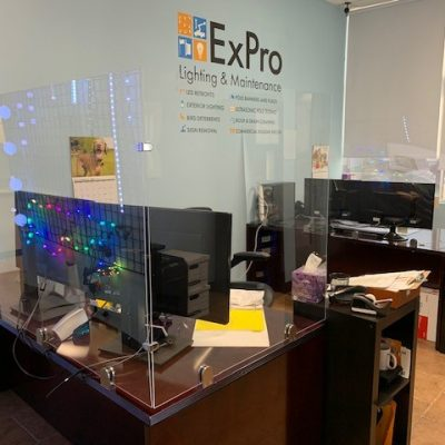 Plexiglass, lucite, or some other form of acrylic works very well as a shielding material.